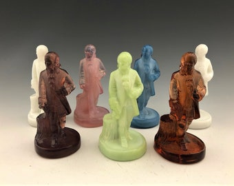 Collection of 7 Boyd Glass Colonial Man Figurines - Collectible Glass Dolls
