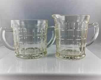 Vintage Hazel Atlas Colonial Block Open Sugar Bowl and Creamer - Clear Depression Glass