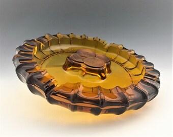 Large Fostoria Coin Amber Double Ashtray - Retro Heavy Glass Ashtray