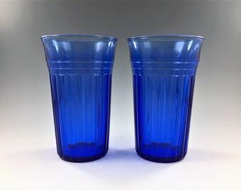 Set of 2 Hazel Atlas Moderntone Cobalt 12 Ounce Flat Tea Tumblers - Hard to Find Blue Depression Glass Tumblers