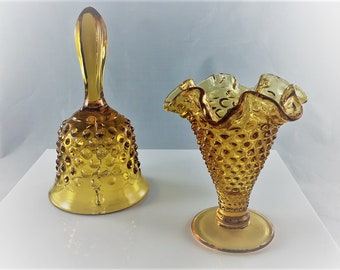 Fenton Art Glass - Amber Hobnail Bell and Vase - Two Collectible Pieces
