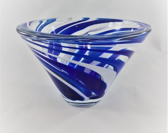 Vintage Modern Art Glass Swirled Blue Vase - Retro Art Glass Bowl