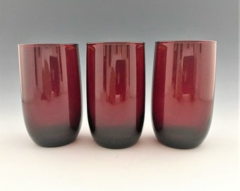 Set of 3 Vintage Ruby Red Tumblers - Anchor Hocking Roly Poly Royal Ruby - 9 Ounce Flat Tumblers