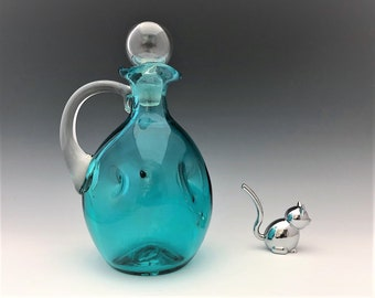 Hand Blown Blue Pinched Glass Decanter With Stopper and Applied Handle