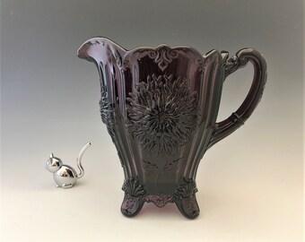 Mosser Glass Dahlia Pitcher - Amethyst Glass Pitcher - Purple Glass