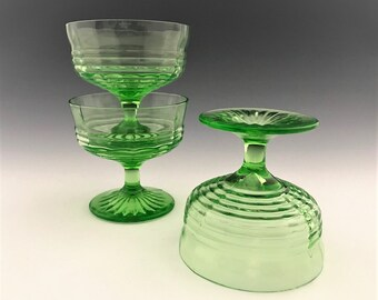 Set of 3 Hocking Glass Circle Green Pattern - Champagne/Tall Sherbet Cups - Depression Era Glass - Uranium Glass - Hard to Find