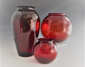 Collection of 3 Hocking Royal Ruby Red Vases - Depression Glass Vases
