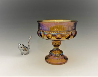 Indiana Glass King's Crown (#77) Iridescent Footed Bowl - Carnival Glass Compote - Wedding or Candy Bowl