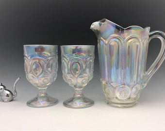L.E. Smith Iridescent Water Pitcher (No. 6228) - Matching Weishar Moon and Star Goblets - Full Size Pitcher and Two Tumblers - Hard to Find