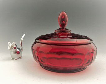 Viking Glass Covered Candy Dish - Ruby Red Glass - Georgian Pattern