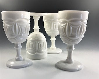Collection of 4 Milk Glass Goblets - L.E. Smith Bristol Pattern - Hard to Find - Vintage Wine or Water Glasses