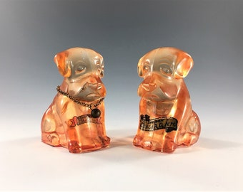 Set of Two Pink Glass Dog Figurines - Tourist Souvenirs - Concord, New Hampshire