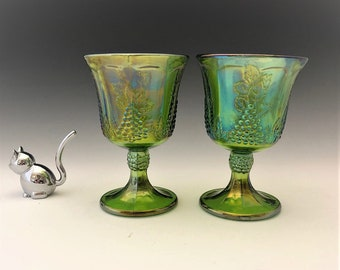 Indiana Glass Harvest Goblets - Iridescent Green Glass - Set of Two