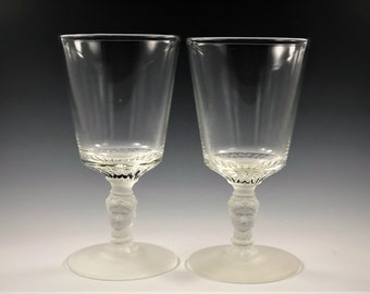 Set of 2 Vintage Glass Goblets - L.G. Wright Reissue of Duncan and Sons #400 - Three Face - Three Fates - Three Sisters - c. 1968
