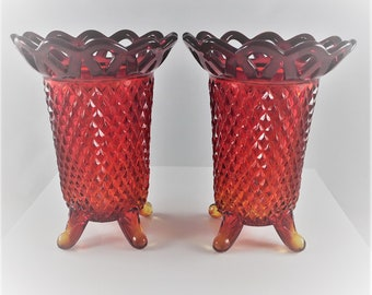 Set of 2 Imperial Lace Edge Four Toed Flower Vases - Ruby Red Diamond Point Pattern