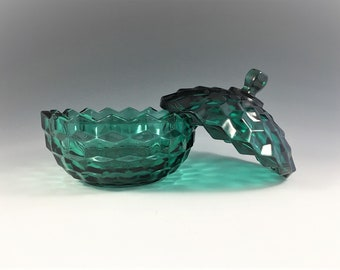 Indiana Glass Teal Candy Box With Cover - Whitehall Pattern (Line #521) - Vintage Teal Glass Candy Dish