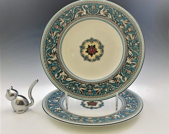 Wedgewood Florentine Turquoise 8 Inch Salad Plates - Set of Two - Hard to Find - Dragon or Griffin Motif Fine Bone China