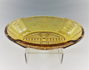 Beautiful Amber EAPG Bowl - Medallion Pattern - Hearts and Spades - Relish or Pickle Dish - Circa 1885
