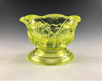 Vintage Vaseline Glass Fairy Light - Lamp Base - Brooke Glass - #800 - Glowing Glass