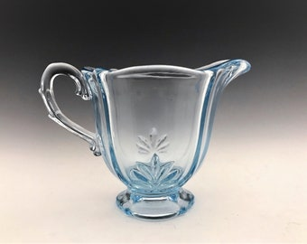 Vintage Fostoria Baroque Blue (Azure) Individual Footed Creamer - 3 1/8 Inch - Pattern 2496