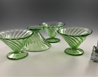 4 Uranium Glass Sherbets - Federal Glass Diana Green Pattern - Green Depression Glass - Champagne Glasses - Glowing Glass - 1937-41