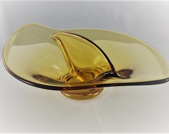 Viking Glass Amber Art Glass Divided Bowl - Mid Century Nut Bowl