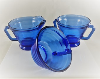 Vintage Hazel Atlas Creamer and Sugar Bowl - Cobalt Blue Moderntone Pattern - BONUS Coffee Cup