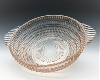 Hazel Atlas Beehive Pattern Pink Depression Glass Bowl - 8 1/2 Inch Diameter