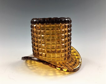 Imperial Glass Mini Top Hat - Amber Glass Hat - Block or Waffle Pattern - Toothpick or Match Holder