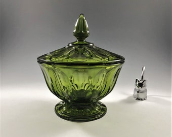 Anchor Hocking Fairfield Avocado Green Covered Candy Dish
