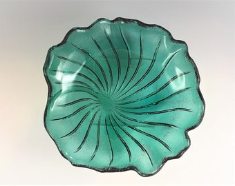Vintage Teal Green Plate - Indiana Glass #605 Pattern - Lily Pons - Coupe Salad Plate - Hard to Find