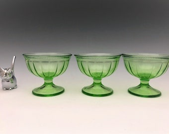 3 Uranium Glass Sherbets - Federal Colonial Fluted Green Pattern - Green Depression Glass - Champagne Glasses - Glowing Glass - 1928-33