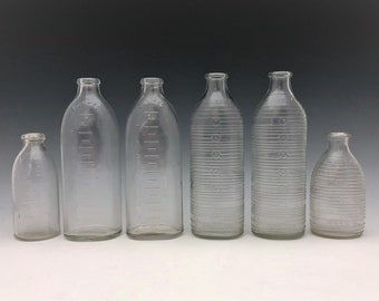 Collection of 6 Vintage Glass Baby Bottles - Owens Illinois