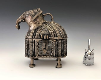 Dhokra Elephant Trinket or Jewelry Box - Hinged Hand Cast Brass - Indian Metal Craft Box