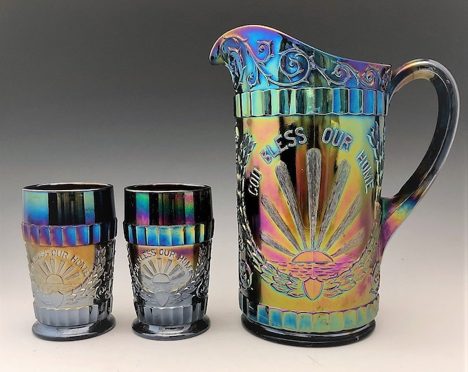 Featured listing image: L.G. Wright God and Home Water Set - Dark Carnival Glass - Made by Mosser Glass - Pitcher and 6 Tumblers