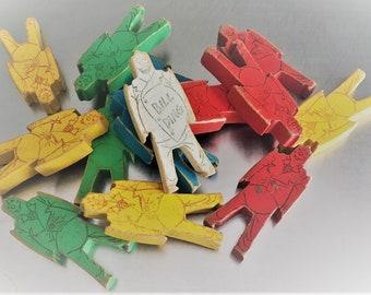 Vintage Colorful Wooden Bill Ding Balancing Clown Blocks - Set of 25