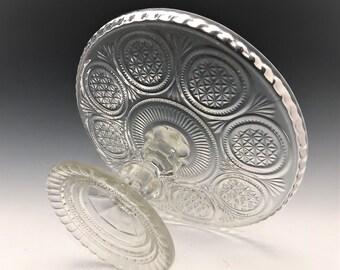 Vintage English Cake Stand - Diamond Rings Pattern - Circa 1900 - Early American Pattern Glass Era
