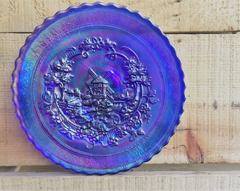 Contemporary Carnival Glass Plate - Imperial Windmill Pattern - Aurora Jewels - Cobalt Blue