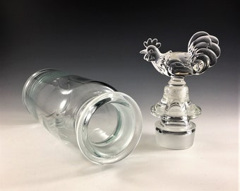 Paden City Crystal #902 Decanter/Shaker With Rooster Top - Hard to Find Three Piece Decanter - Retro Barware