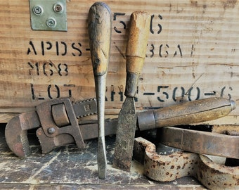 Vintage Tool Collection - Screwdriver, Chisel and Antique Stillson Wrench 14-Inch Adjustable Peck Stow & Wilcox Co. (Pexto)