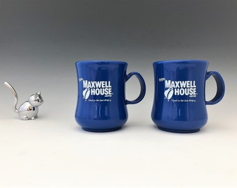 Set of 2 Vintage Maxwell House Coffee Mugs - Classic Plastic Coffee Cups - Great Camping Gear