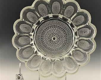 Vintage Hobnail Deviled Egg Dish - Indiana Glass - Thousand Eyes Pattern - Clear Relish Plate