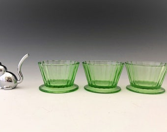 Hazel Atlas Fruit Cup - Footed Sherbet - Jello Mold - Green Depression Glass - Glowing Uranium Glass