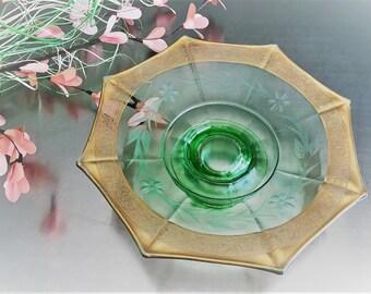 Green Depression Glass Octagonal Bowl - Uranium Glass - Gold Trimmed