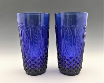Set of 2 Avon Royal Sapphire Cobalt Blue Glass 14 Ounce Flat Tumblers - Made in France