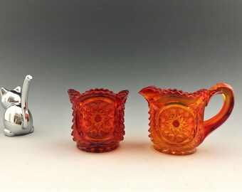 L.E. Smith Amberina/Flame Toy Cream and Sugar Set (#3520) - Oneata Pattern