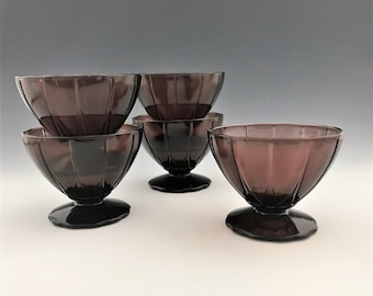 Set of 5 Hazel Atlas Newport Pattern Champagne/Tall Sherbet Cups - Hairpin Pattern - Amethyst Depression Glass