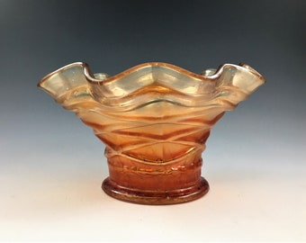 Vintage Carnival Glass Hat - Dugan Lattice and Points - Vining Twigs - Marigold Bowl