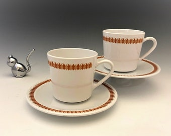 Vintage Pyroceram Brand Cups and Saucers by Corning - Set of 2 Cups and Two Saucers