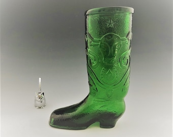 Vintage Green Glass Cowboy Boot - Western Boot Beer Glass. - Green Italian Glass - Steer Head Star and Horseshoe